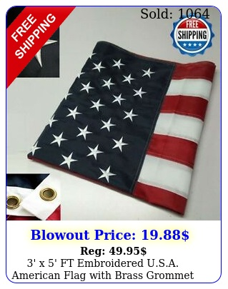 ' x ' ft embroidered usa american flag with brass grommet high quality usm