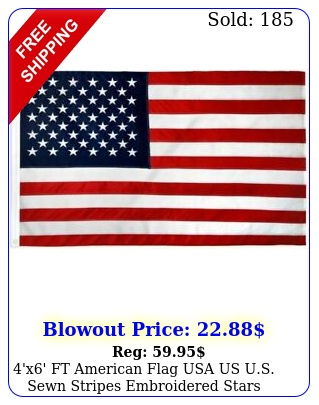 'x' ft american flag usa us us sewn stripes embroidered stars brass grommet