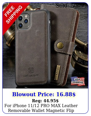 iphone pro max leather removable wallet magnetic flip card case cove