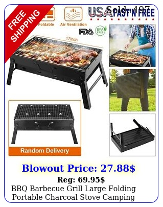 bbq barbecue grill large folding portable charcoal stove camping garden outdoo
