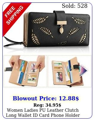 women ladies pu leather clutch long wallet id card phone holder purse handbag u