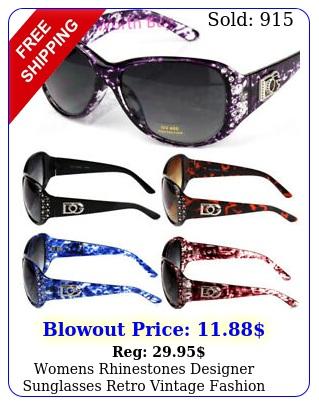 womens rhinestones designer sunglasses retro vintage fashion shades wrap aroun