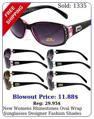 womens rhinestones oval wrap sunglasses designer fashion shades small retr