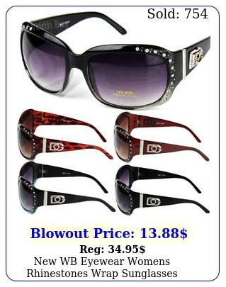 wb eyewear womens rhinestones wrap sunglasses designer fashion shades aroun
