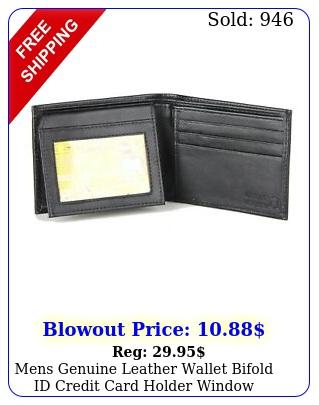 mens genuine leather wallet bifold id credit card holder window billfold licens