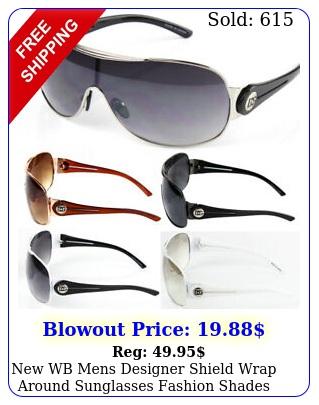 wb mens designer shield wrap around sunglasses fashion shades retro one len