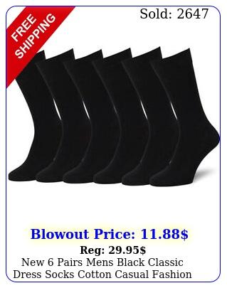 pairs mens black classic dress socks cotton casual fashion crew solid so