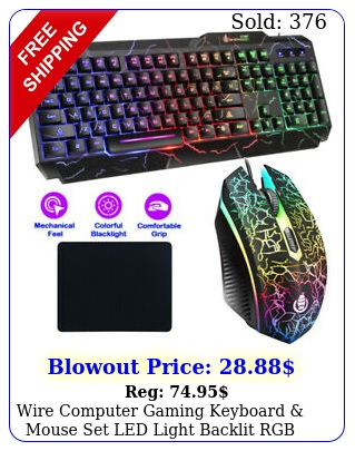 wire computer gaming keyboard mouse set led light backlit rgb mechanical fee