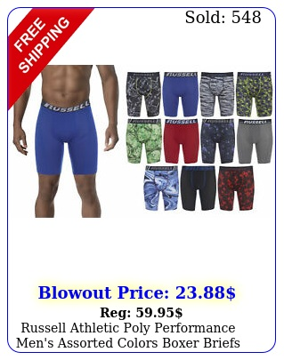 russell athletic poly performance men's assorted colors boxer briefs multi pac