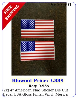 x american flag sticker die cut decal usa gloss finish vinyl 'merica bran
