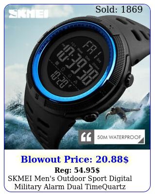 skmei men's outdoor sport digital military alarm dual time quartz wrist watch u
