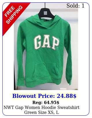 nwt gap women hoodie sweatshirt green size xs