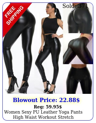 women sexy pu leather yoga pants high waist workout stretch leggings trouser