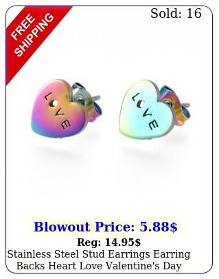 stainless steel stud earrings earring backs heart love valentine's day