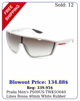 prada men's psustwko linea rossa mm white rubber sunglasse