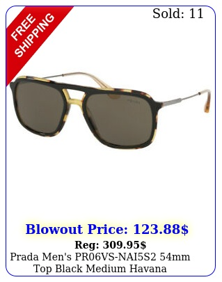 prada men's prvsnais mm top black medium havana sunglasse