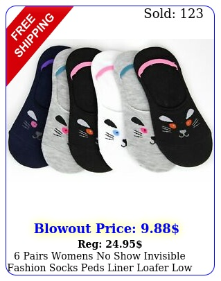 pairs womens no show invisible fashion socks peds liner loafer low cut cotto