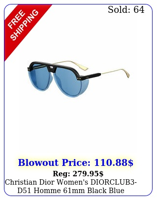 christian dior women's diorclubd homme mm black blue sunglasse