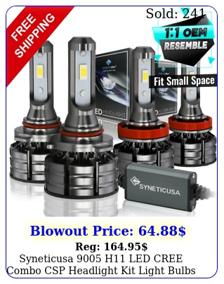 syneticusa h led cree combo csp headlight kit light bulbs hi low bea