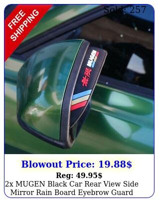 x mugen black car rear view side mirror rain board eyebrow guard sun viso