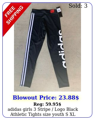 adidas girls stripe logo black athletic tights size youth s x