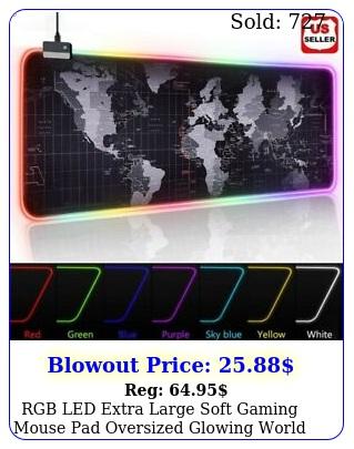 rgb led extra large soft gaming mouse pad oversized glowing world map x'