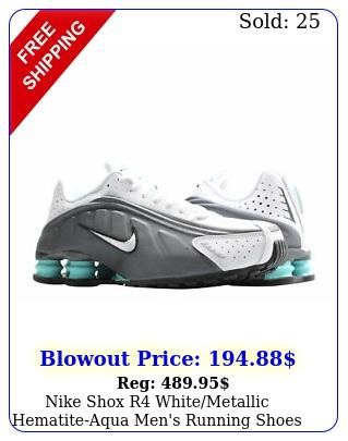 nike shox r whitemetallic hematiteaqua men's running shoe