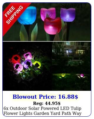 x outdoor solar powered led tulip flower lights garden yard path way color lam
