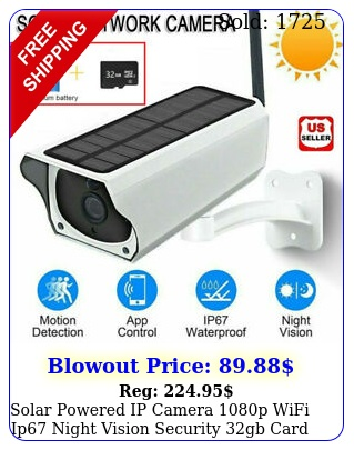 solar powered ip camera p wifi ip night vision security gb card wireles