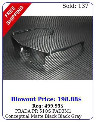 prada pr os fadm conceptual matte black black gray mm men's sunglasse
