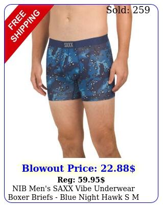 nib men's saxx vibe underwear boxer briefs blue night hawk s m l x