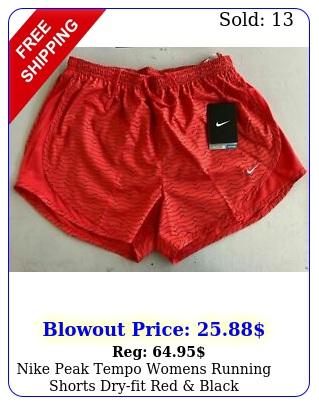 nike peak tempo womens running shorts dryfit red blac