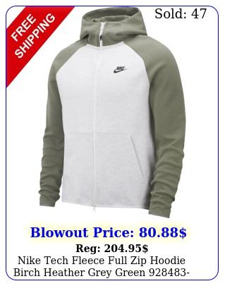 nike tech fleece full zip hoodie birch heather grey green men's lxx