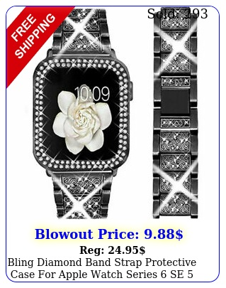 bling diamond band strap protective case apple watch series se