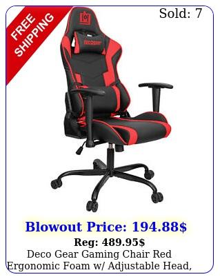 deco gear gaming chair red ergonomic foam w adjustable head lumbar suppor