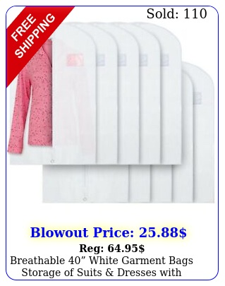 breathable white garment bags storage of suits dresses with zipper pac