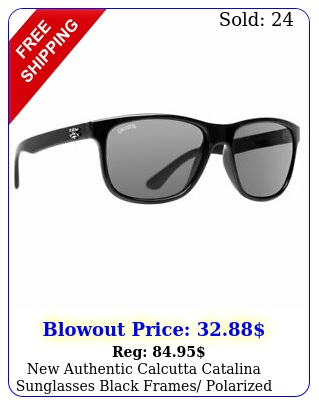 authentic calcutta catalina sunglasses black frames polarized gray len