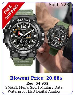 smael men's sport military data waterproof led digital analog quartz wrist watc