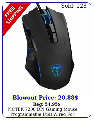 pictek dpi gaming mouse programmable usb wired laptop pc computer pr