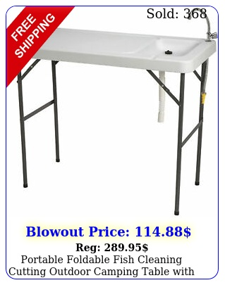 portable foldable fish cleaning cutting outdoor camping table with sink fauce