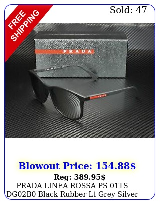 prada linea rossa ps ts dgb black rubber lt grey silver men's sunglasse