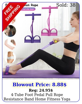 tube foot pedal pull rope resistance band home fitness yoga gym situp traine