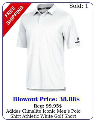 adidas climalite iconic mens polo shirt athletic white golf short sleeve to