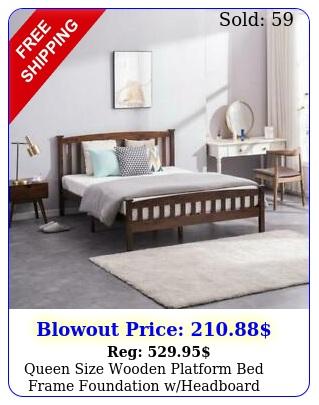 queen size wooden platform bed frame foundation wheadboard wood slats walnu