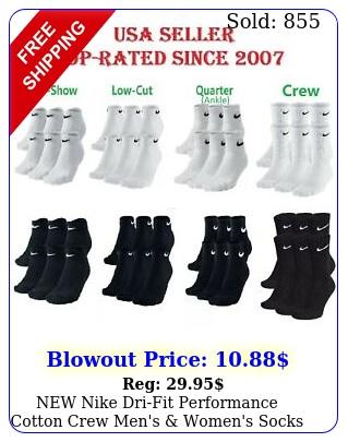nike drifit performance cotton crew men's women's socks  or pair