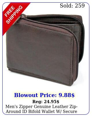 men's zipper genuine leather ziparound id bifold wallet w secure coin pocke