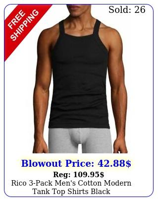 rico pack men's cotton modern tank top shirts blac