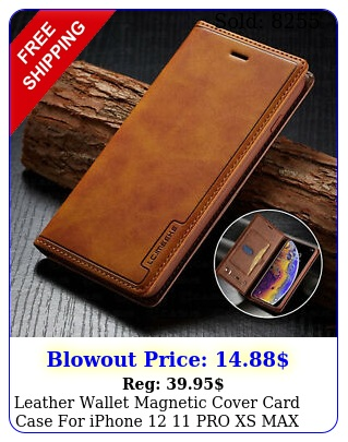 leather wallet magnetic cover card case iphone  pro xs max xr plu