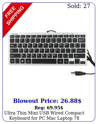 ultra thin mini usb wired compact keyboard pc mac laptop black key silve