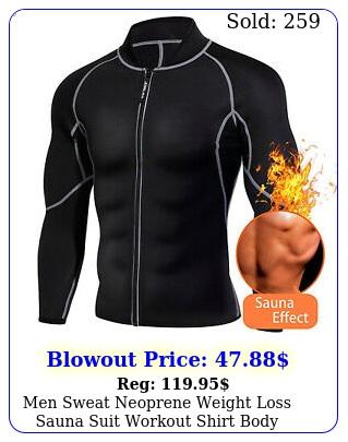 men sweat neoprene weight loss sauna suit workout shirt body shaper gym fitnes